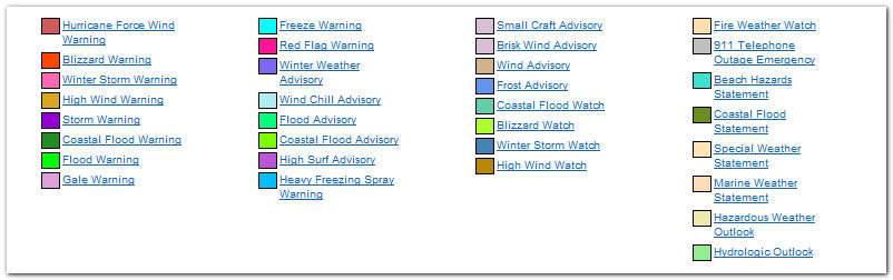 NWS Advisories Legend